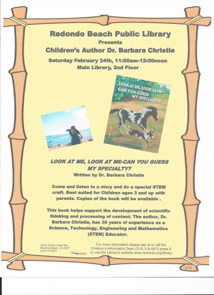 Flier for Redondo Beach Library Event